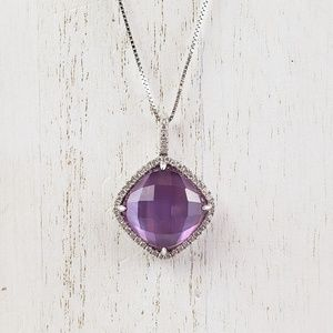 14kt White Gold Necklace Diamond Purple Amethyst